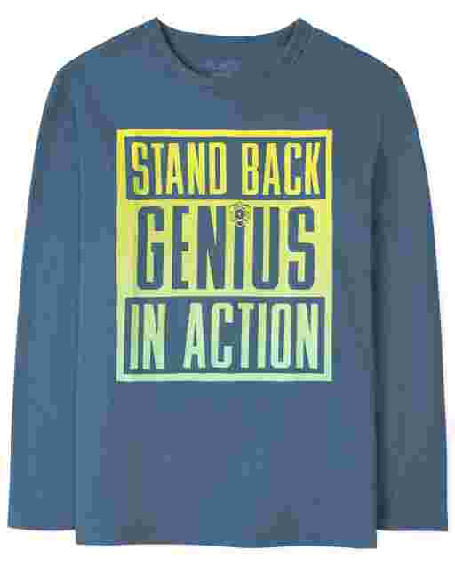 Boys Long Sleeve 'Stand Back Genius In Action' Graphic Tee