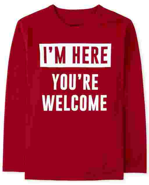 Boys Long Sleeve 'I'm Here You're Welcome' Graphic Tee