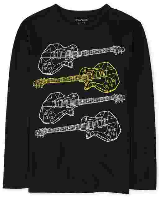 Boys Long Sleeve Guitars Graphic Tee