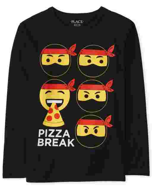 Boys Long Sleeve Pizza Ninja Graphic Tee