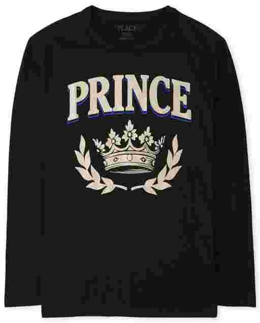 Boys Matching Family Long Sleeve Foil 'Prince' Royalty Graphic Tee
