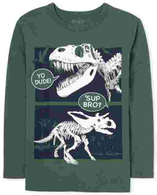 Boys Long Sleeve 'Yo Dude Sup Bro' Dino Graphic Tee