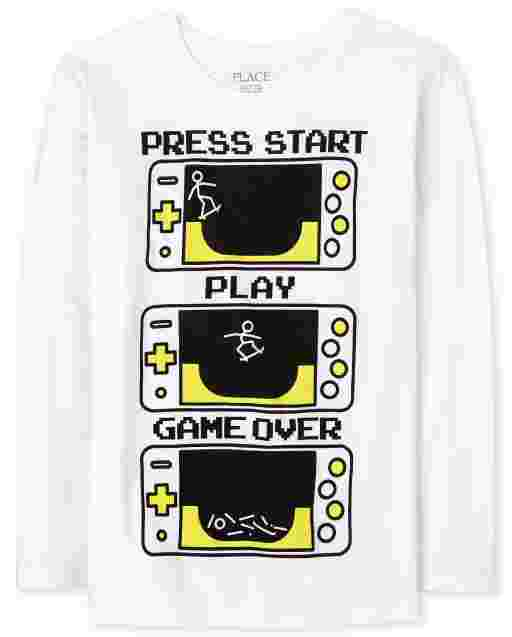 Boys Long Sleeve 'Press Start Play Game Over' Video Game Graphic Tee