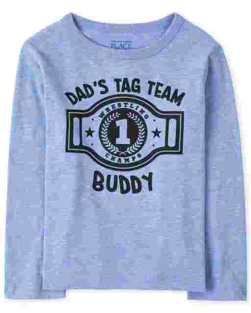 Baby And Toddler Boys Long Sleeve 'Dad's Tag Team Buddy' Graphic Tee