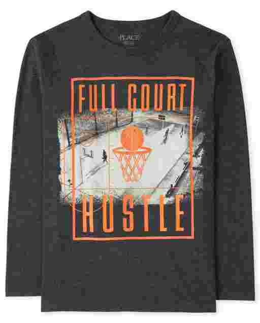 Boys Long Sleeve 'Full Court Hustle' Basketball Graphic Tee