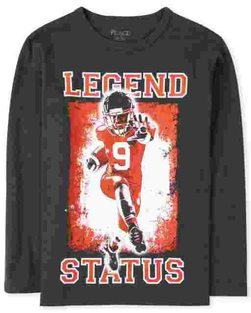 Boys Long Sleeve Football 'Legend Status' Graphic Tee
