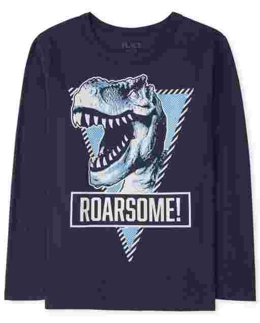 Boys Long Sleeve 'Roarsome' Dino Graphic Tee