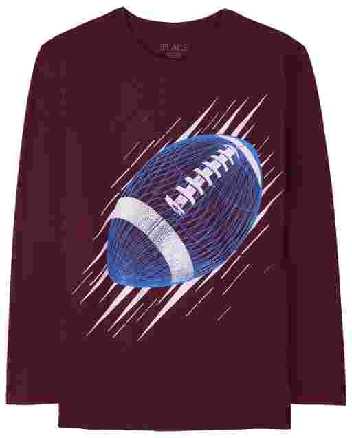 Boys Long Sleeve Football Graphic Tee