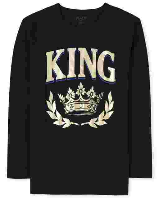 Mens Matching Family Long Sleeve Foil 'King' Royalty Graphic Tee