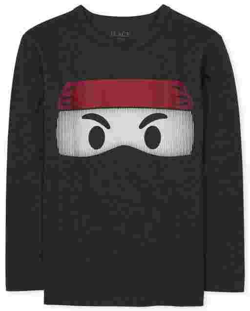 Camiseta con estampado Ninja de manga larga para niños