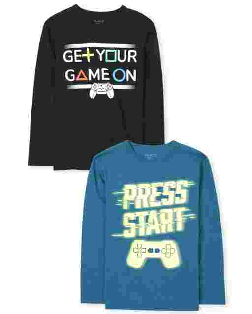 Boys Long Sleeve 'Get Your Game On' And 'Press Start' Videogame Graphic Tee 2-Pack