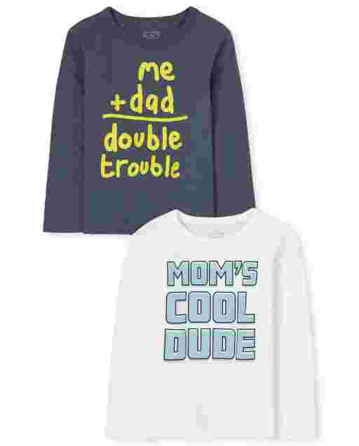 Baby And Toddler Boys Long Sleeve 'Mom's Cool Dude' And 'Me + Dad Double Trouble' Graphic Tee 2-Pack