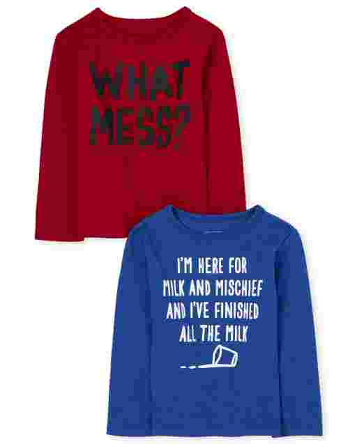Baby And Toddler Boys Long Sleeve 'What Mess' And 'I'm Here For Milk And Mischief And I've Finished All The Milk' Graphic Tee 2-Pack