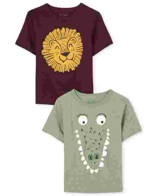 Baby And Toddler Boys Short Sleeve Lion And Alligator Graphic Tee 2-Pack