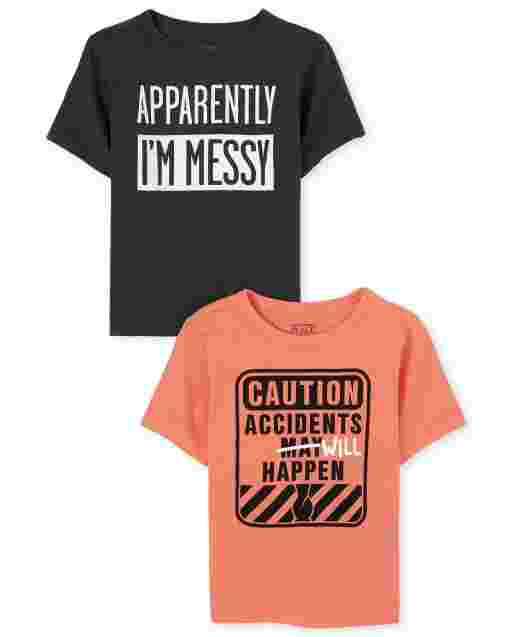 Baby And Toddler Boys Short Sleeve 'Caution Accidents Will Happen' And 'Apparently I'm Messy' Graphic Tee 2-Pack