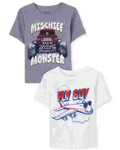 Baby And Toddler Boys Short Sleeve 'Fly Guy' And 'Mischief Monster' Transportation Graphic Tee 2-Pack