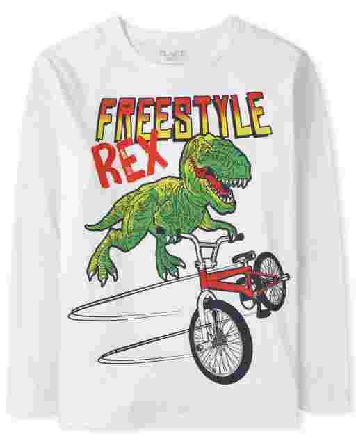 Boys Long Sleeve 'Freestyle Rex' Dino Biker Graphic Tee
