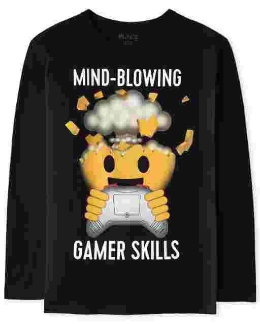 Boys Long Sleeve 'Mind-Blowing Gamer Skills' Emoji Video Game Graphic Tee