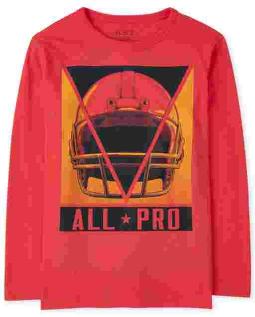 Boys Long Sleeve 'All Pro' Football Graphic Tee