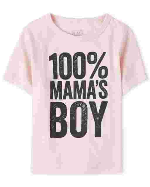 Baby And Toddler Boys Short Sleeve '100% Mama's Boy' Graphic Tee