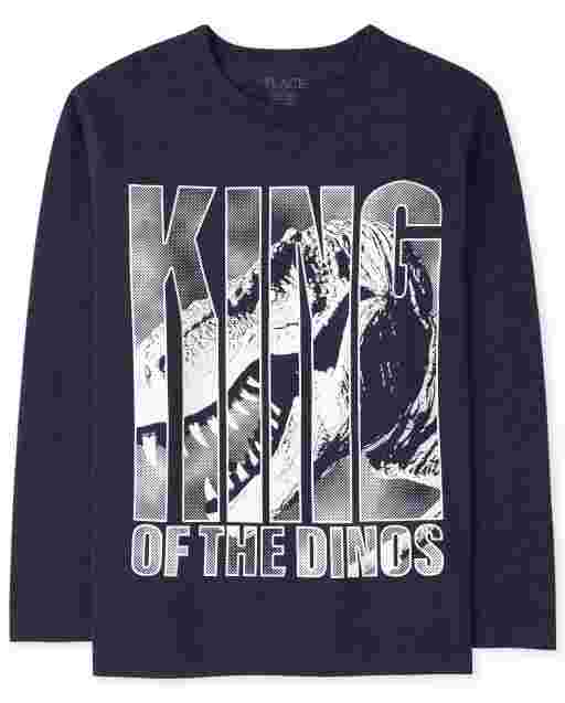 Boys Long Sleeve 'King Of The Dinos' Graphic Tee