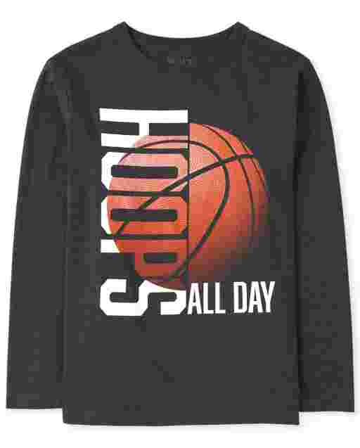 Boys Long Sleeve 'Hoops All Day' Basketball Graphic Tee