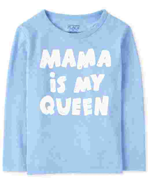 Baby And Toddler Boys Long Sleeve 'Mama Is My Queen' Graphic Tee