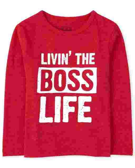 Baby And Toddler Boys Long Sleeve 'Livin' The Boss Life' Graphic Tee