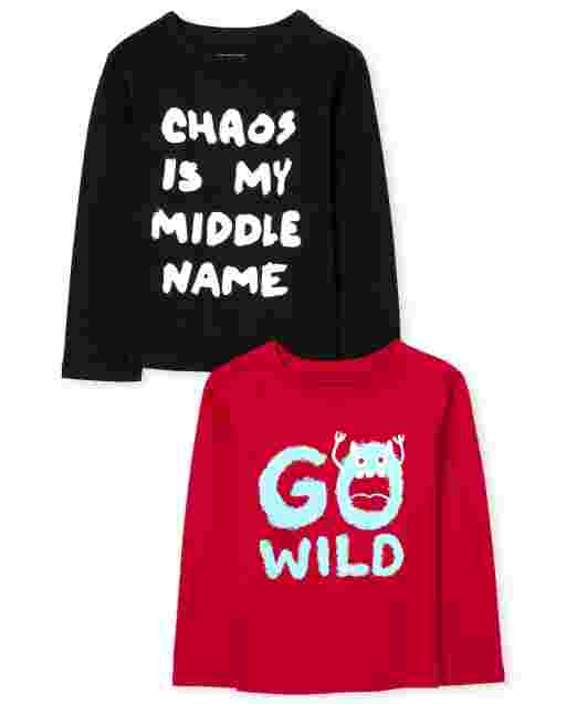 Baby And Toddler Boys Long Sleeve 'Go Wild' And 'Chaos Is My Middle Name' Graphic Tee 2-Pack