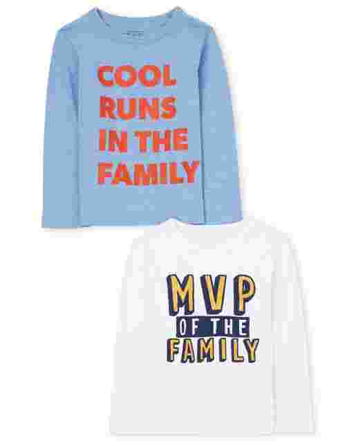 Baby And Toddler Boys Long Sleeve Family Graphic Tee 2-Pack