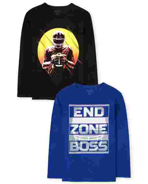 Boys Long Sleeve Football Graphic Tee 2-Pack