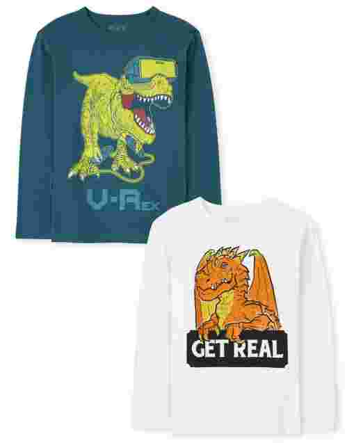 Boys Long Sleeve Dino And Dragon Graphic Tee 2-Pack