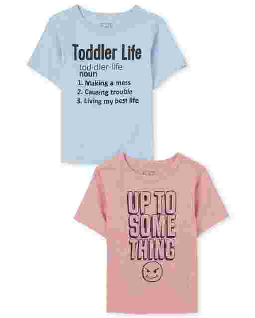 Baby And Toddler Boys Short Sleeve 'Up To Something' And Toddler Life' Graphic Tee 2-Pack