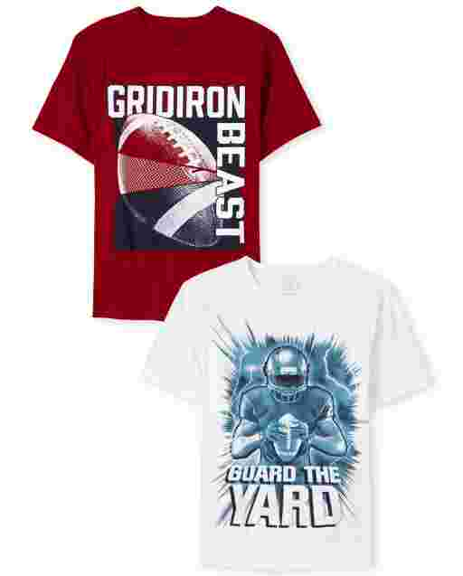Boys Short Sleeve Football Graphic Tee 2-Pack