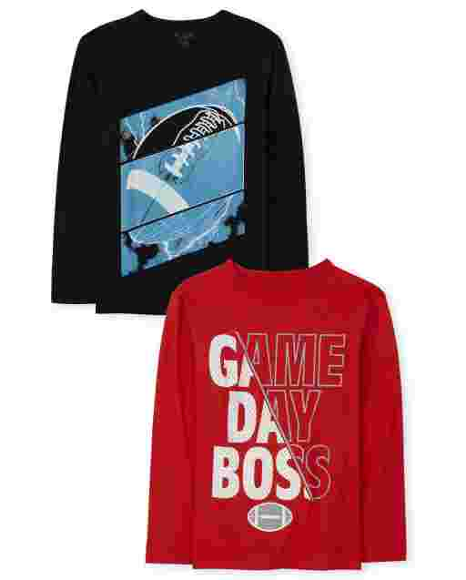 Boys Long Sleeve 'Game Day Boss' And Football Graphic Tee 2-Pack