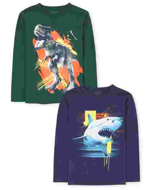 Boys Long Sleeve Shark And Dino Graphic Tee 2-Pack