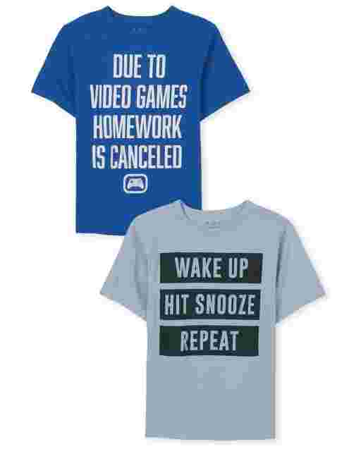 Boys Short Sleeve 'Wake Up Hit Snooze Repeat' And 'Due To Video Games Homework Is Cancelled' Graphic Tee 2-Pack