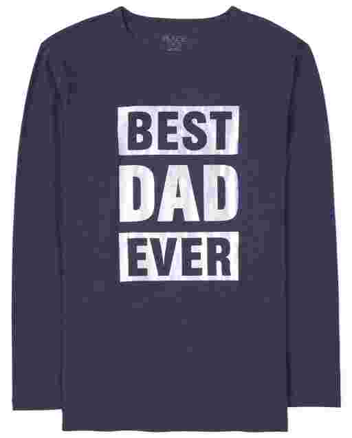 Mens Matching Family Long Sleeve Foil 'Best Dad Ever' Graphic Tee