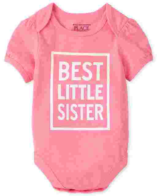 Baby Girls Short Sleeve 'Best Little Sister' Graphic Bodysuit