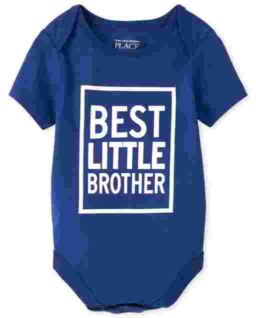 Baby Boys Short Sleeve 'Best Little Brother' Graphic Bodysuit