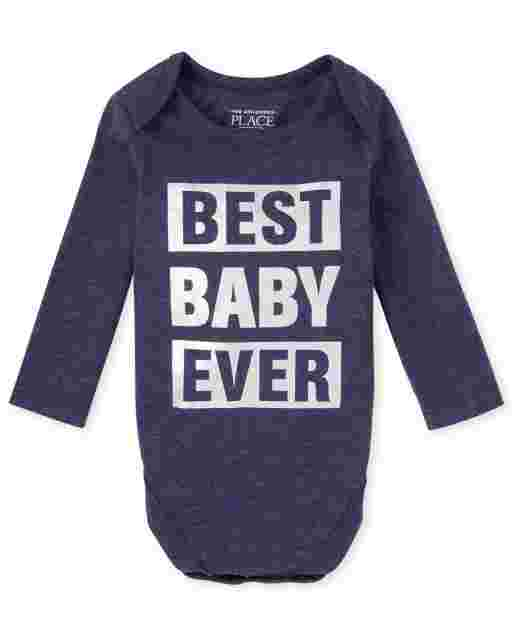 Unisex Baby Matching Family Long Sleeve Foil 'Best Baby Ever' Graphic Bodysuit