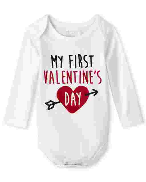 Unisex Baby Valentine's Day Long Sleeve 'My First Valentine's Day' Graphic Bodysuit
