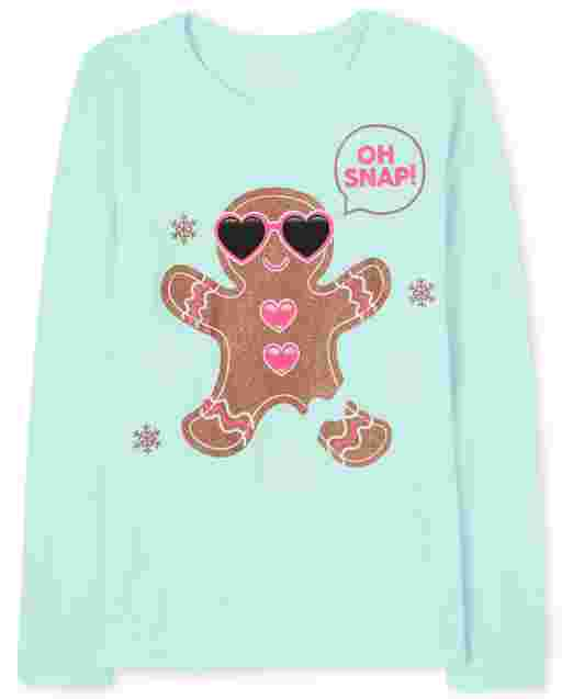 Girls Long Sleeve Glitter 'Oh Snap' Gingerbread Graphic Tee