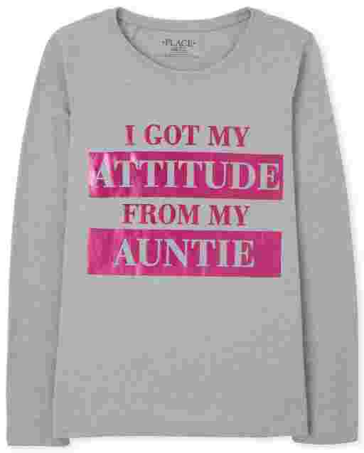 Girls Long Sleeve 'I Got My Attitude From My Auntie' Graphic Tee