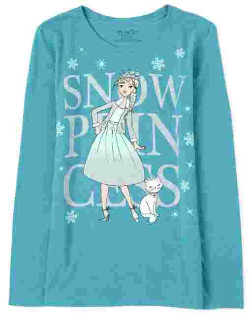 Girls Long Sleeve Glitter Snow Princess Graphic Tee