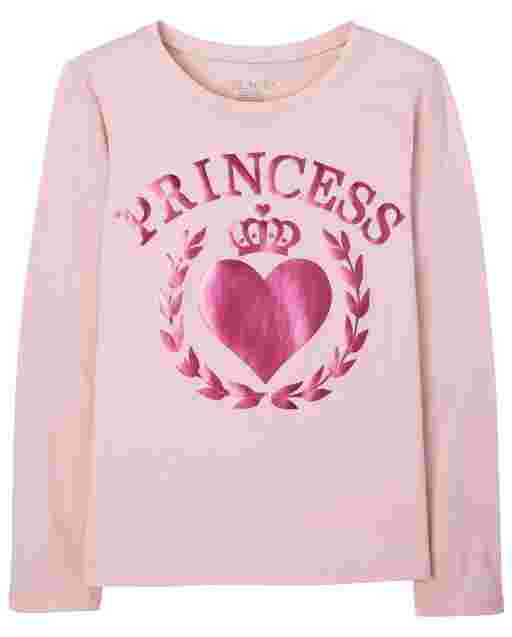 Girls Long Sleeve Princess Graphic Tee