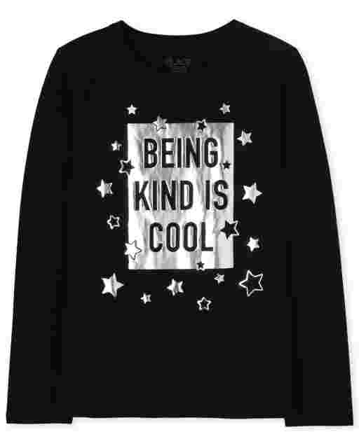 Girls Long Sleeve 'Being Kind Is Cool' Graphic Tee