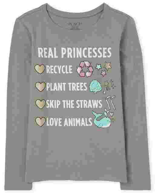 Girls Long Sleeve 'Real Princesses Recycle Plant Trees Skip The Straws Love Animals; Graphic Tee