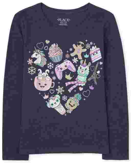 Girls Long Sleeve Emoji Heart Graphic Tee