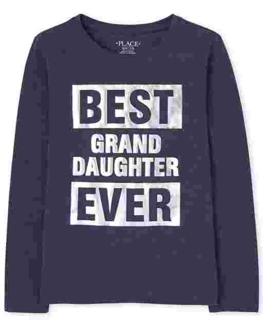 Girls Matching Family Long Sleeve Foil 'Best Granddaughter Ever' Graphic Tee